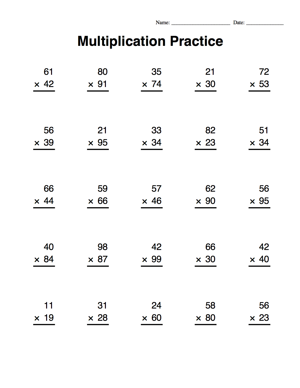 Multiplication Worksheets Delibertad – Traditional Multiplication Worksheets