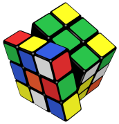 a mixed up Rubik's cube